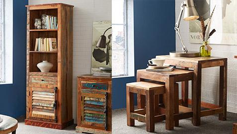 Mobili In Legno Riciclato Vendita : Tavolini bassi vintage impilabili in legno riciclato