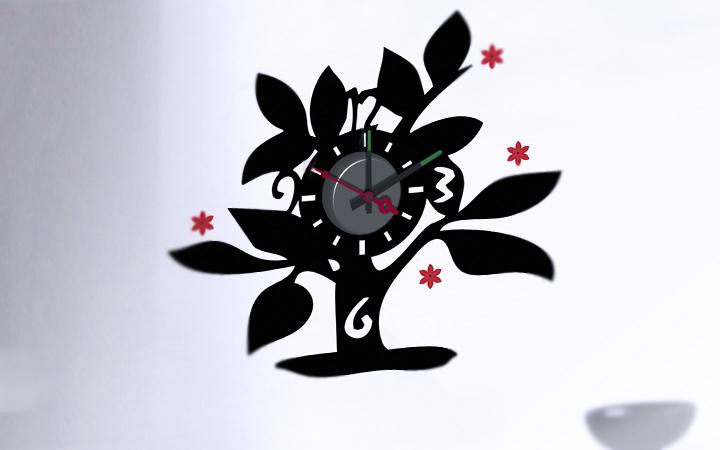 Orologio da parete sticker design albero for Orologio stickers