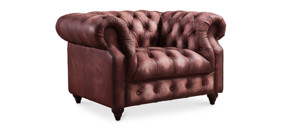 Poltrona Chesterfield in pelle vintage James
