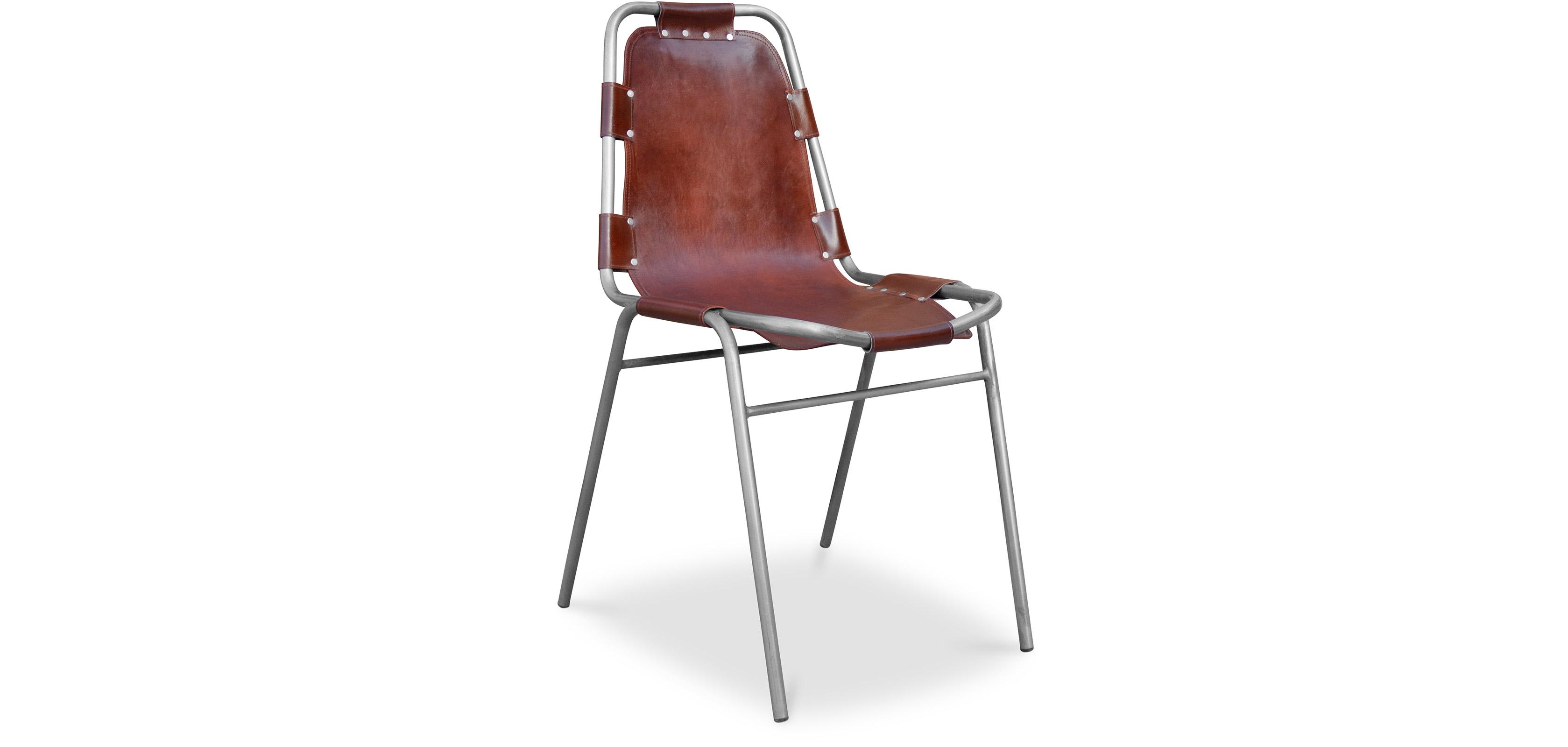Sedia Design Industriale Vintage - Acciaio e Pelle Premium